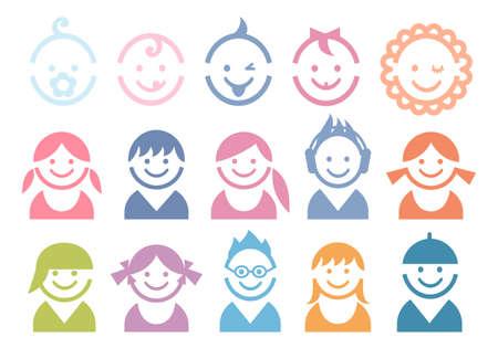 Dzieci: dla dzieci i twarze dzieci, wektor zestaw ikon