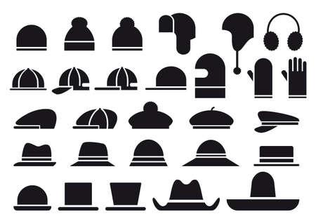모자: 다양한 모자, 벡터 아이콘 세트 일러스트