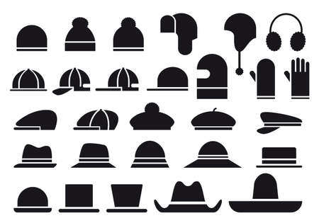 accesory: set of various hats, vector icons