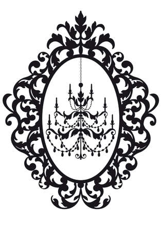 antique picture frame with chandelier,  Vector