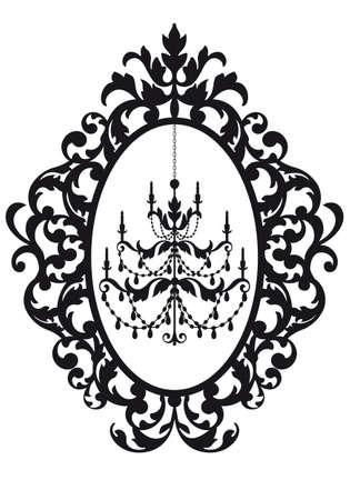 marco de foto antigua con lámpara de araña, Ilustración de vector