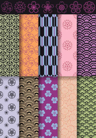 chinese pattern: seamless asian patterns and flowers