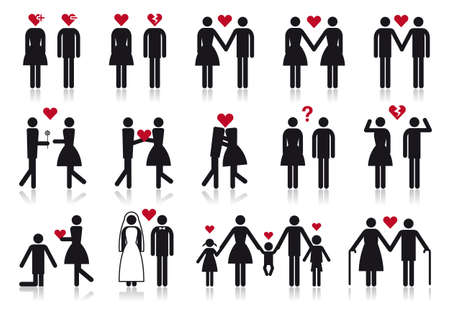 lesbian girls: love and relationship, vector people icon set