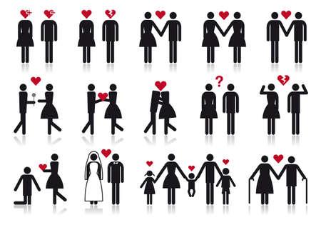 piktogram: miłość i związek, wektor zestaw ikona osób Ilustracja