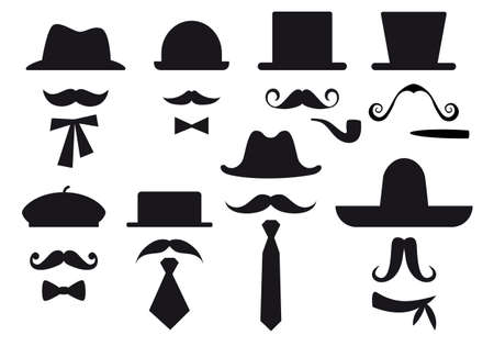 mustaches, hats and ties, gentleman set Vector