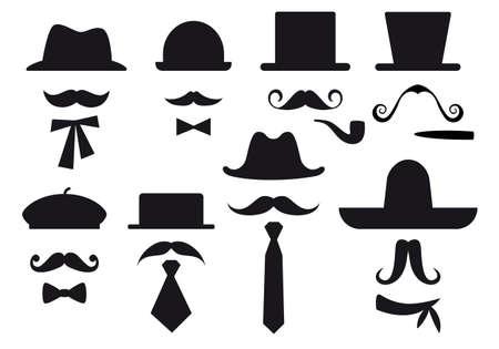 wąsy, czapki i krawaty, zestaw dżentelmen