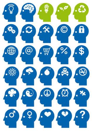 coraz�n y cerebro: cabeza de conjunto de iconos con los s�mbolos