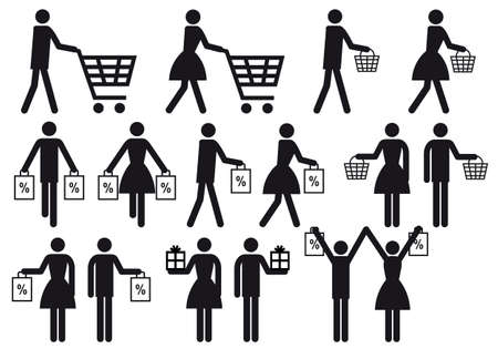 消費: 買い物カゴとバッグ、アイコン セットを持つ人々