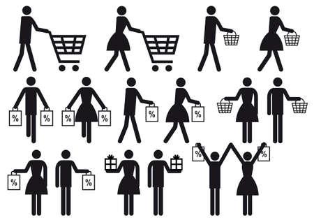 mujer en el supermercado: las personas con carrito de la compra y la bolsa, conjunto de iconos