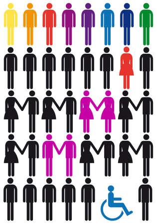 homosexuales: concepto de diversidad, el vector conjunto de iconos las personas