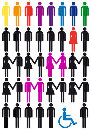 discrimination: diversity concept, vector people icon set