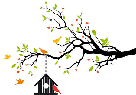nesting: bird house on spring tree with green leaves, vector background