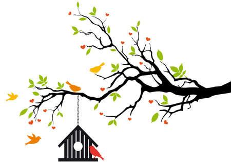 uccelli su ramo: uccello casa sull'albero primavera con foglie verdi, sfondo vettoriale