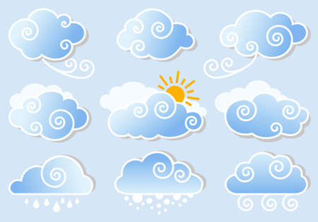 blue sky with cute cloud set, vector design elements Vector