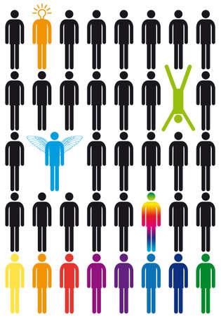 creativity concept, vector people icon set