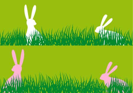dibujo: conejitos de pascua que se sientan en la hierba verde, fondo del vector