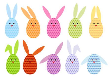 conejo caricatura: un conjunto de coloridos huevos de Pascua, conejos ilustraci�n vectorial Vectores