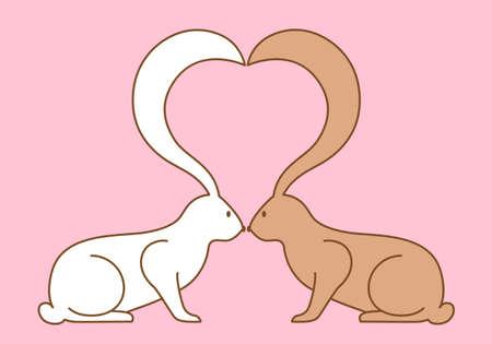 lapin silhouette: lapins de Pâques avec des oreilles en forme de coeur, fond vecteur Illustration