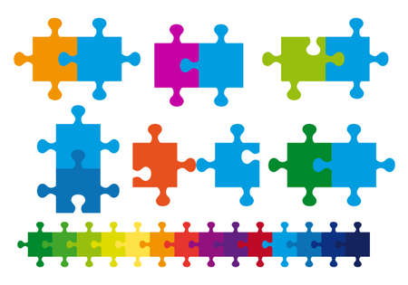 set of jigsaw puzzle, vector design elements Vector