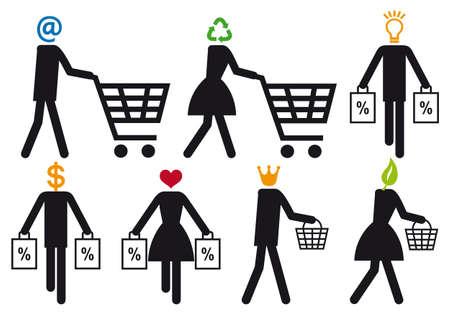 hand cart: la gente inteligente comprador, vector icon set