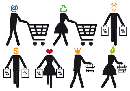 smart shopper people, vector icon set Vector