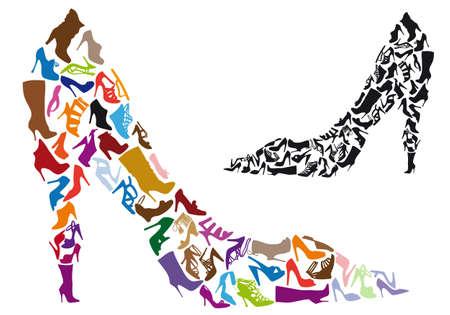 sandalia: siluetas de varios de zapatos en forma de aguja, de vectores de fondo