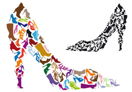 walking shoes: various shoe silhouettes in stiletto shape, vector background Illustration