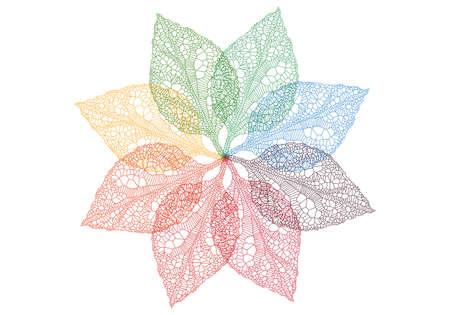 venation: colorful spring leaves flower, vector background Illustration