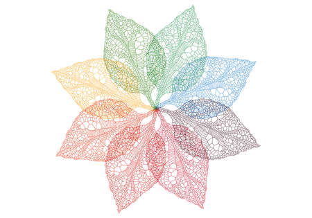 reticular: colorful spring leaves flower, vector background Illustration