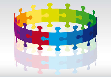 symbols metaphors: colorful 3d jigsaw puzzle circle, vector background