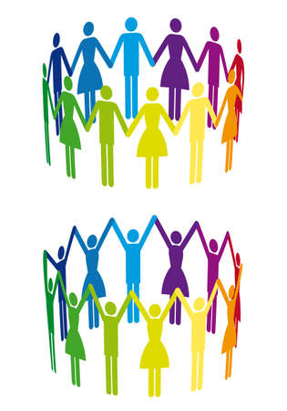 business symbols metaphors: colorful people holding hand in circle, vector background Illustration