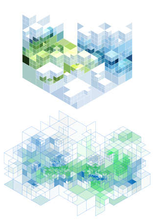 prospect: abstract background with 3d cubes, vector
