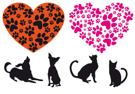 animal track: red heart with cat and dog footprint pattern, vector background