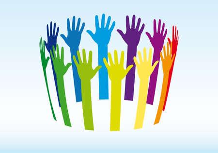 individualit�: mani colorate in cerchio, sfondo vettoriale