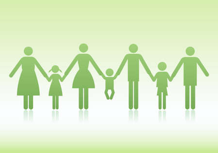 family with mother, father and children, vector icon set