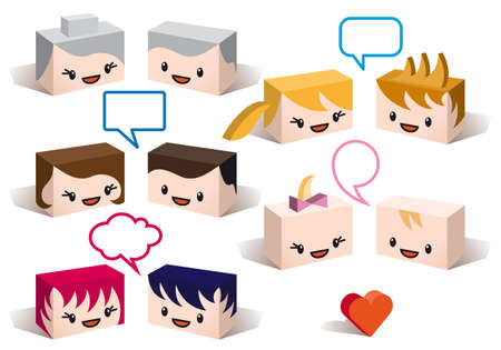 3D family avatars with speech bubbles, vector people icon set Stock Vector - 12780043