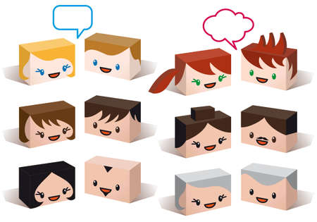 3D head avatars, vector people icon set