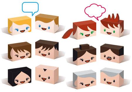 senior lady: 3D head avatars, vector people icon set