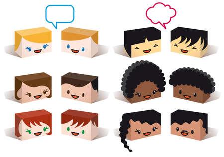 multirracial: diversity avatars, multiethnic vector people icon set Ilustração