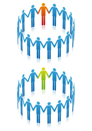 teamwork concept, people in circle, vector background Vector