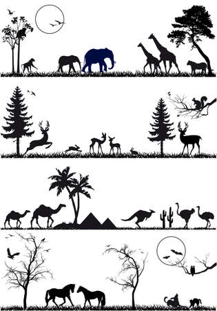 wildlife animals, vector background set Vector