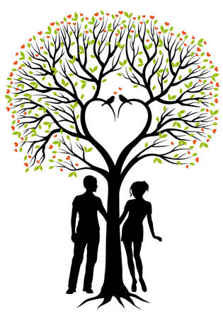 wedding couple silhouette: heart tree with green leaves and birds, vector background