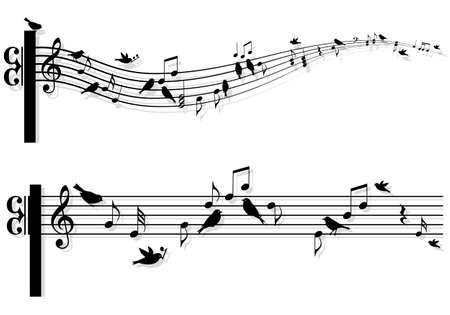 Notas musicales con pájaros cantando, vector de fondo