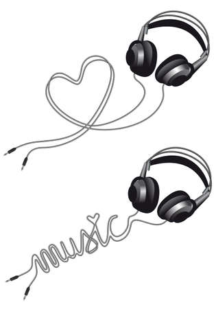 dj headphones: headphone with heart shaped cable, over white background