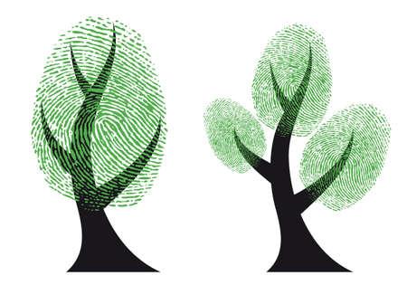 odcisk kciuka: drzewo z zielonymi liśćmi o odciskach palców, tło wektor