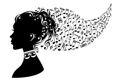 listening music: mujer de la cabeza con las notas musicales en el pelo, de vectores de fondo