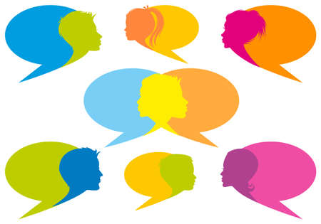 speech bubbles with human faces, set of vector design elements Vector