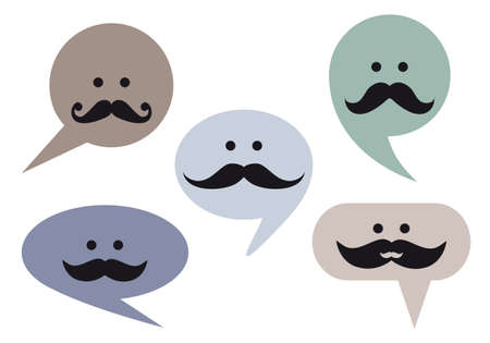 speech bubble faces with moustache Vector