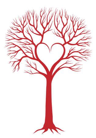 Liebe rot Baum mit herzförmigen Filialen Vektorgrafik