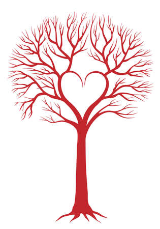 red love tree with heart shaped branches Vector
